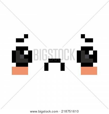 Vector Pixel Cartoon Sad Face Isolated On White Background