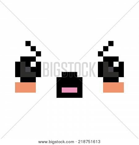 Vector Pixel Cartoon Angry Face Isolated On White Background