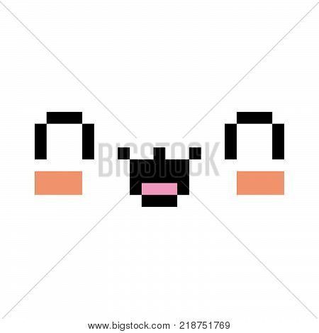 Vector Pixel Cartoon Happy Face Isolated On White Background