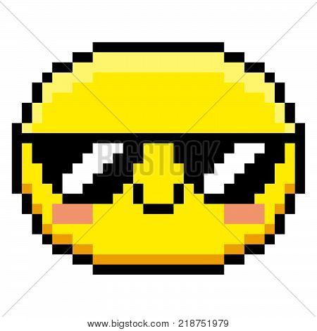 Vector Pixel Cartoon Face With Sunglasses Isolated On White Background