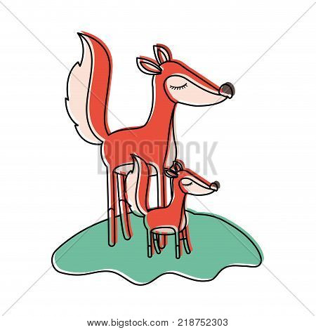 cartoon fox mom and cub over grass in watercolor silhouette vector illustration