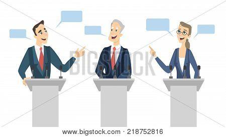 Debates on election. Candidates on tribune discussing.