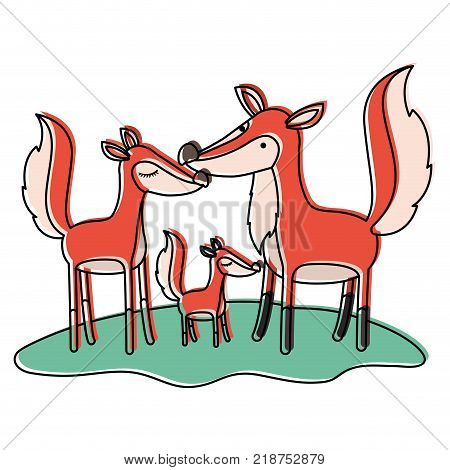 cartoon fox couple and cub over grass in watercolor silhouette vector illustration