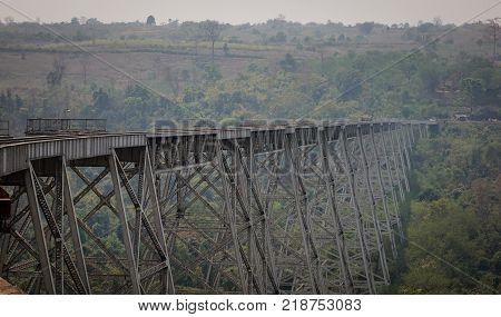 Goteik viaduct at misty day in Nawnghkio Shan State Myanmar. Gokteik Viaduct is the highest bridge in Myanmar.