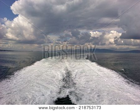 White Ferry Wash and Clouds Outside Belfast Lough