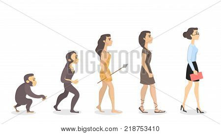 Evolution of woman. From monkey to businesswoman.