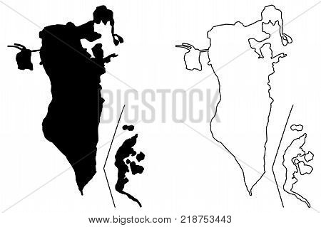Bahrain map vector illustration , scribble sketch Kingdom of Bahrain