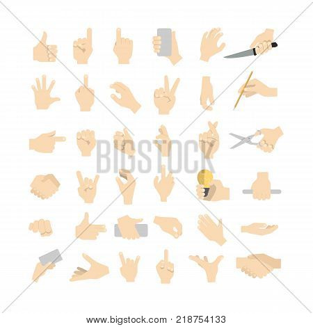 Hand gestures set. Showing, pointing and holding things