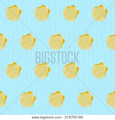 Camino de Santiago sign. Yellow scallop shells on the blue background. Seamless pattern. Pilgrims navigation sign. Symbol of the Camino de Santiago in Spain.
