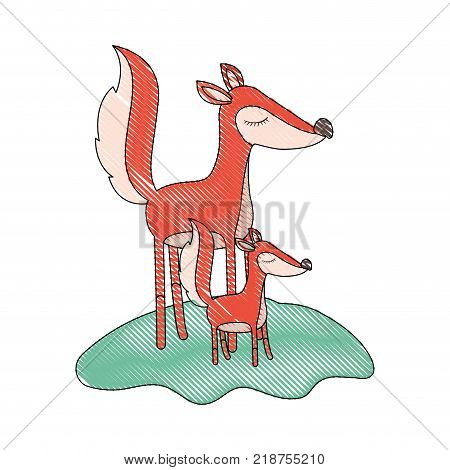 cartoon fox mom and cub over grass in colored crayon silhouette vector illustration