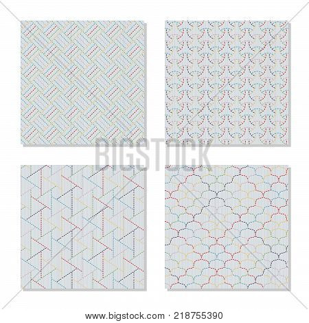 Four Asian embroidery motifs. Japanese sashiko ornaments. Series. Abstract Seamless patterns. Simple textures. Colorful stitches on the white background. For pattern fills, handicraft for decoration.