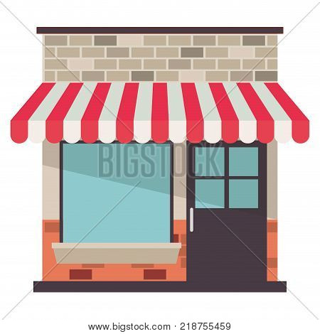 store facade with sunshade in colorful silhouette vector illustration