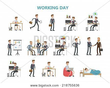 Businessman daily routine. Working in office and going home.
