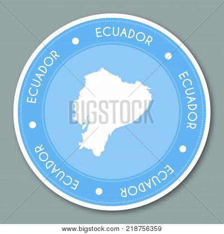 Ecuador Label Flat Sticker Design. Patriotic Country Map Round Lable. Country Sticker Vector Illustr