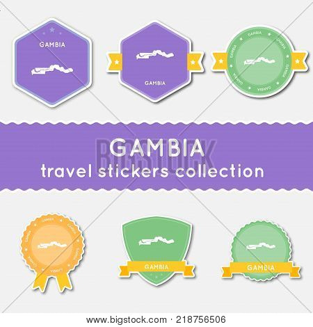 Gambia Travel Stickers Collection. Big Set Of Stickers With Country Map And Name. Flat Material Styl