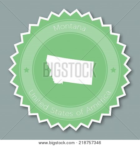 Montana Badge Flat Design. Round Flat Style Sticker Of Trendy Colors With The State Map And Name. Us