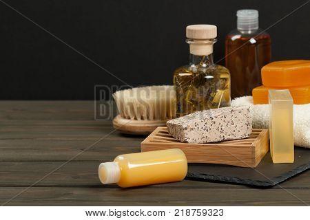 Toiletry Set. Handmade Soap. Shampoo, Essence, Towel. Body Care Kit