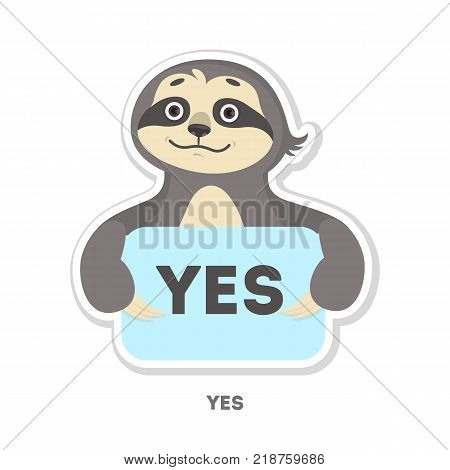Agreeing sloth sticker. Isolated funny cartoon character.