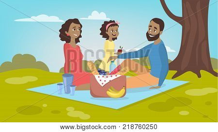 Family at picnic. Isolated african parents and daughter on blanket with food in the park.