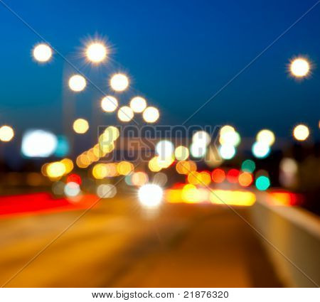 Blurry City Traffic Lights / Bokeh in the Night poster