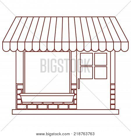 store facade with sunshade in dark red contour vector illustration