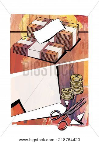 Budget cuts - bundles of banknotes columns of coins with the dollar sign cut paper and scissors. Against a background of textured paper in the style of comics