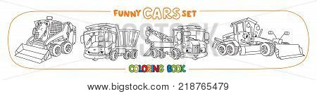 Grader, tow truck, snowthrower, and dump truck. Small funny vector cute cars with eyes and mouth. Coloring book set for kids. Children vector illustration. Construction and municipal machinery.