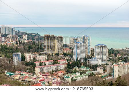 Residential district on seaside in Sochi. Russia
