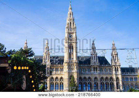 Rooftop of Neo-Gothic style of Wiener Rathaus before christmas time the city hall of Vienna located on Rathausplatz in the Innere Stadt district Vienna Austria
