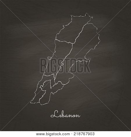Lebanon Region Map: Hand Drawn With White Chalk On School Blackboard Texture. Detailed Map Of Lebano