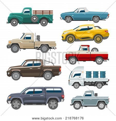 Pickup car vector auto pick up delivery transport automobile offroad vehicle or truck and mockup isolated citycar on white background illustration.