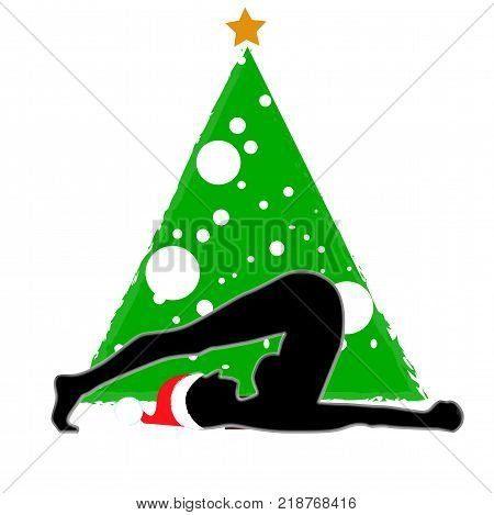 Christmas new year yoga asana on the background of the Christmas tree in the Santa Claus hat. Halasana Plow Pose black silhouette green tree whith golden star and white balls, vector illustration for banner, poster, postcard, invitation to the yoga party,