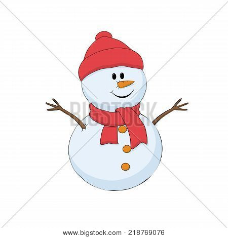 Snowman in red winter hat and scarf. Isolated vector illustration on white background.