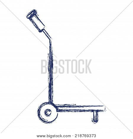 hand truck icon flat in dark blue blurred silhouette vector illustration