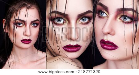 A collage of photos of a beautiful girl with a beautiful professional make-up. Collage of 3 portraits