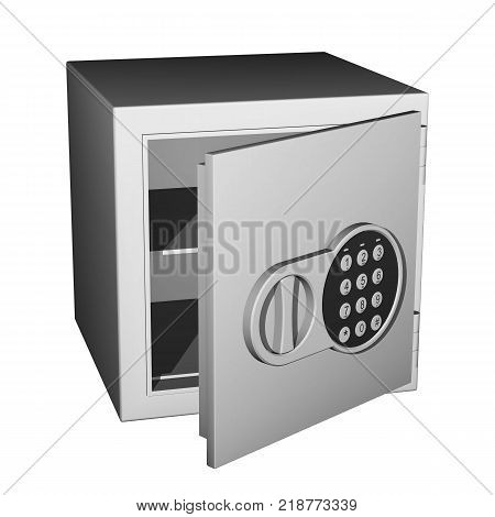Empty safe with a opened door and a digital combination lock with handle isolated on white background.