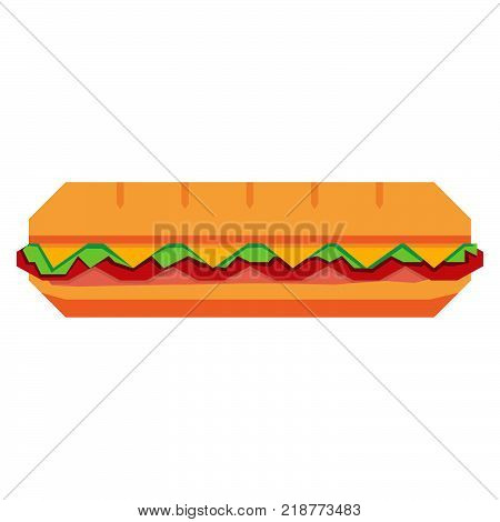 Vector Cartoon Sandwich Isolated On White Background