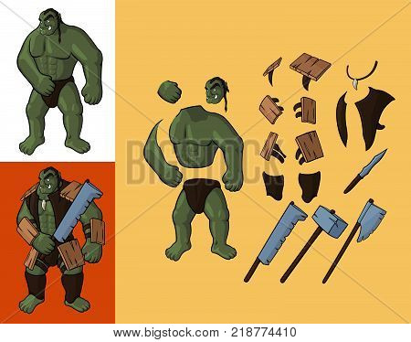 Set of orcs v1. Strong orc and equipment: Vector cartoon orc body parts with armour and weapon