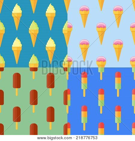 Set of seamless patterns with ice cream cones, ice lolly. Vector texture.
