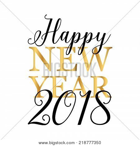 Happy New Year 2018 in gold and black
