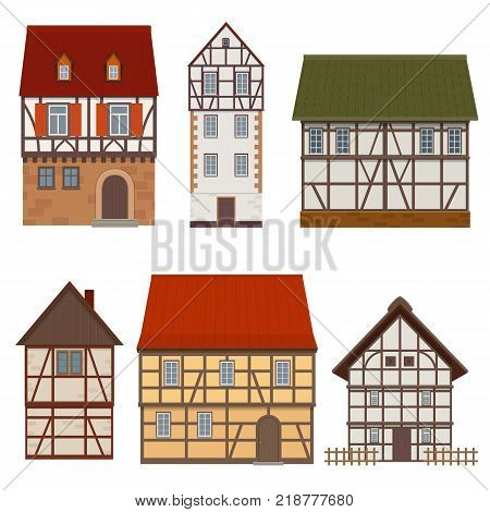 Set of traditional facades of a half-timbered medieval houses on white background. Vector illustration