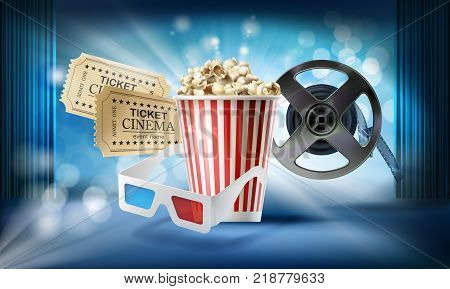 Cinema blue background. Concept 3d vector illustration with objects of film industry bucket with popcorn, glasses, movie tickets, reel, stage, curtain. Design template for poster, ad, banner
