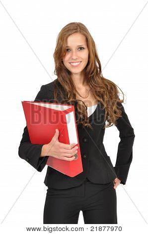 Young Woman Holding A Folder