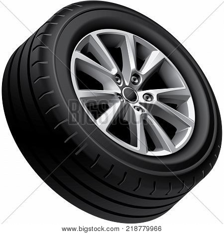 High quality vector illustration of aluminium alloy wheel isolated on white background. File contains gradients blends and transparency. No strokes. Easily edit: file is divided into logical groups.