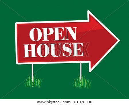 Open House Real Estate Arrow Sign.
