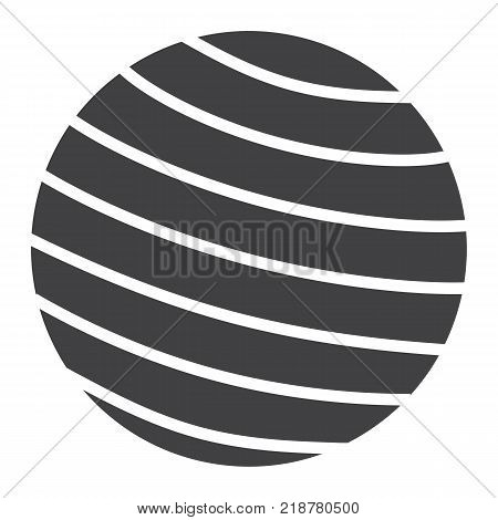 Fitness rubber ball glyph icon, fitness and sport, gym ball sign vector graphics, a solid pattern on a white background, eps 10.