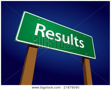 Results Green Road Sign Illustration on a Radiant Blue Background.