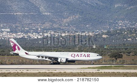 Athens - November 21 2017: Large passenger airplane Airbus A-330-302 Qatar Airways landed at the airport on November 21 2017 Athens Greece