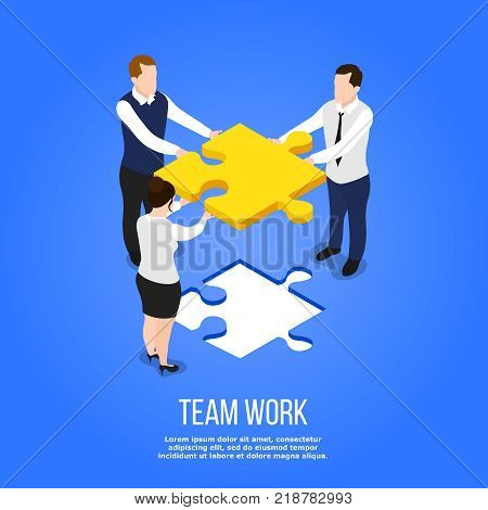 Isometric people teamwork conceptual background with group of human characters holding jigsaw puzzle with editable text vector illustration