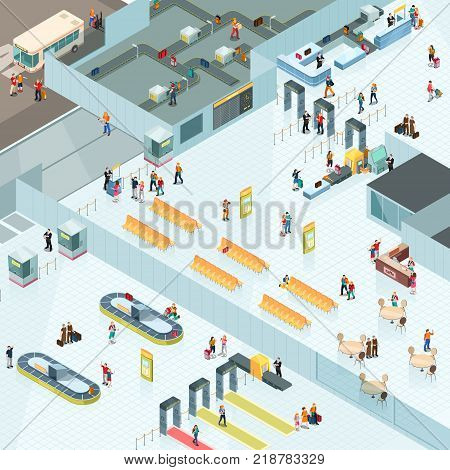 Airport isometric design with departure and arrival zones including waiting seats, cafe, baggage conveyors vector illustration